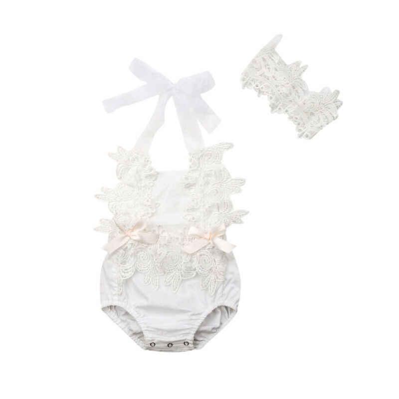 Princesa bonito do bebê recém-nascido meninas bodysuits floral rendas pequeno babt roupas macacão bandana 2 pçs roupas de verão terno
