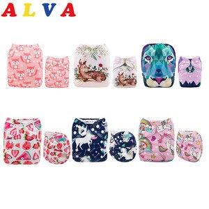 Image 1 - ALVABABY самые популярные 6 Ткань Подгузники + 12 микрофибры вставки для девочек и мальчиков