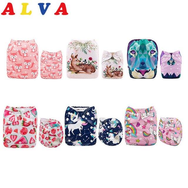 ALVABABY самые популярные 6 Ткань Подгузники + 12 микрофибры вставки для девочек и мальчиков