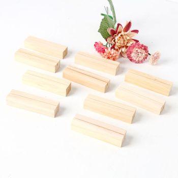 10 pçs números de madeira natural photo display stand titular do cartão de visita mensagem nome clipes memorando escritório organizador mesa jantar festa