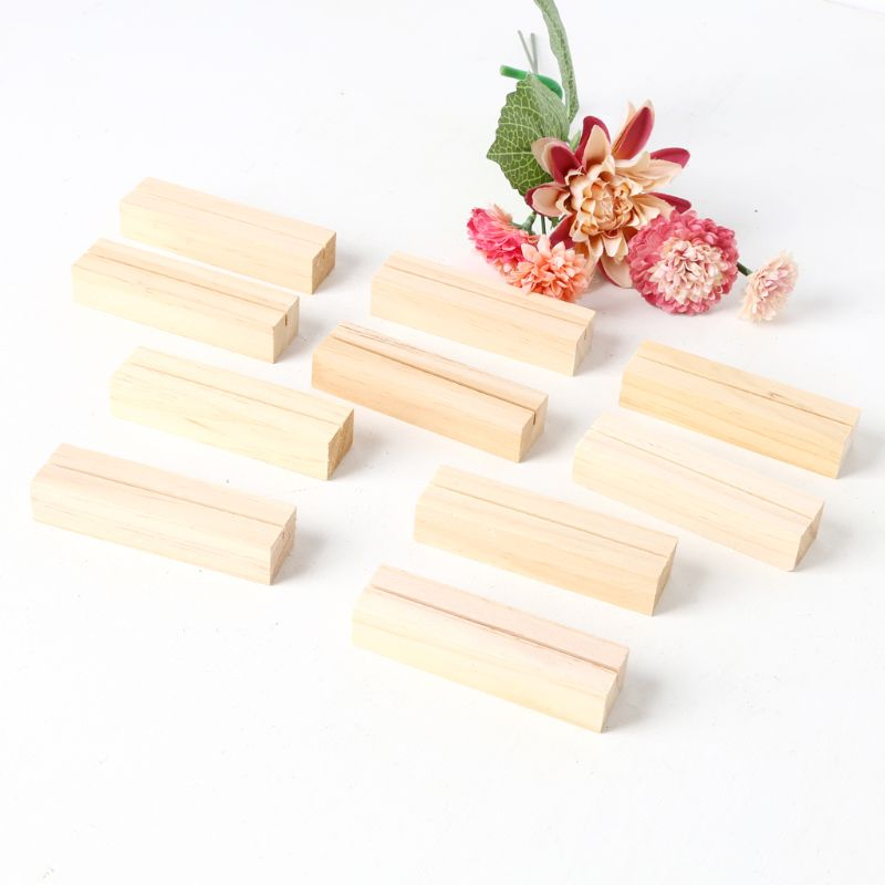 10pcs Natural Wood Numbers Photo Display Stand Business Card Holder Message Name Memo Clips Office Desk Organizer Dinner Party
