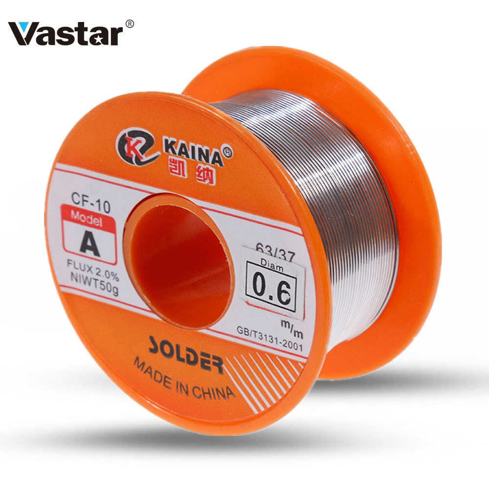 Vastar 0.8mm 100g Tin Lassen Wire Melt Rosin Core Soldeer 63/37 Flux 2.0% 0.8/1/ 1.2/1.5/2mm Soldeerbout Tin 30g 50g