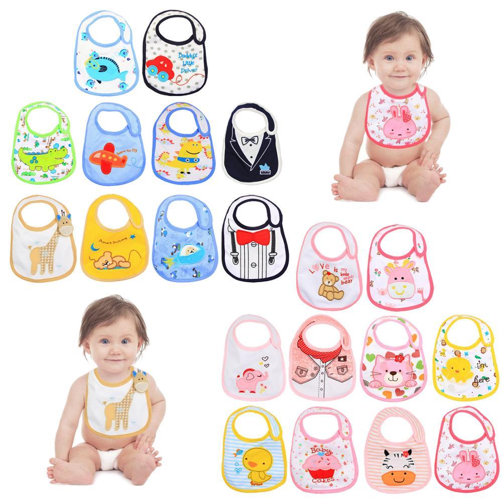 10 pcs dos desenhos animados babadores do bebe infantil 3 camadas impermeavel anti sujeira burp toalhas