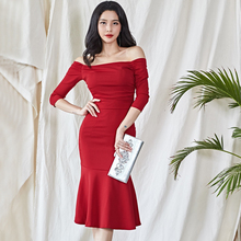 New winter han edition fashion temperament of a word shoulder hip dress sexy fishtail dress pack make more winter fashion knitting maternity dress render han edition mom gradient even clothes