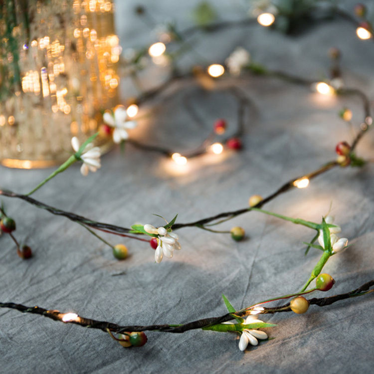 Fairy Lights, Christmas Decoration String Lights, Wreath With Lights, Flower, Berries, Festive Party Family Birthday Home Decor