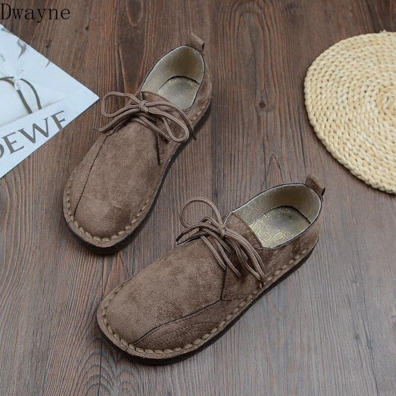 Замшевые тонкие туфли на мягкой подошве со шнуровкой; повседневные студенческие туфли на плоской подошве; японская женская обувь на низком каблуке, сшитая вручную|Обувь без каблука|   | АлиЭкспресс