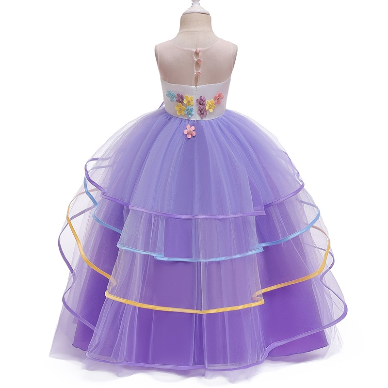 Rainbow Unicorn Cosplay Girl Dress Party Elegant Flower Lace Long Tutu Formal Ball Gown Princess Baby Dresses 5 7 8 12 14 Years 3