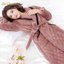 Kimono Female Robes  Long Sleeve Lapel Home Wear Lingerie Plus Size Female Warm Robe Dressing Gown Velvet Robe Winter Bathrobes