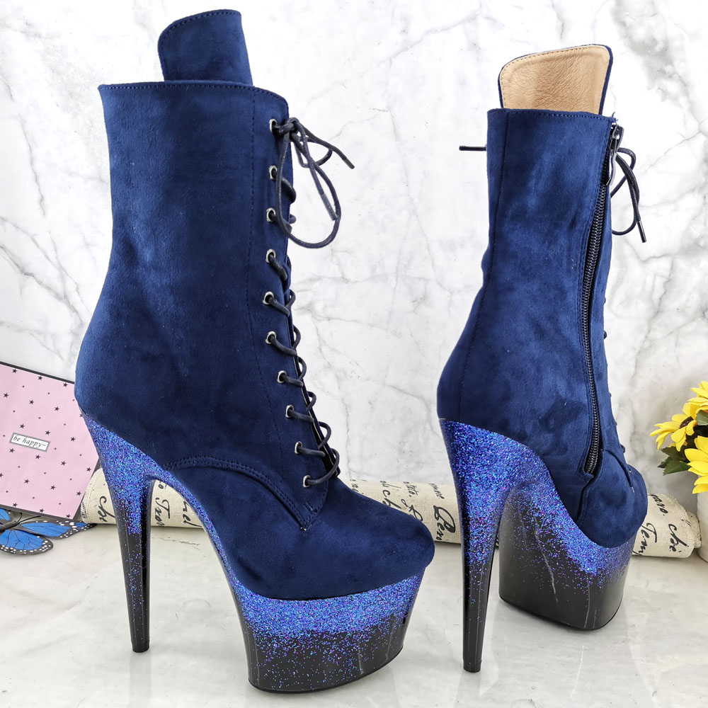 Leecabe  17CM/7inches Pole dancing shoes High Heel platform Boots closed toe Pole Dance boots