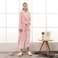 Winter Flannel Couple Nightgowns Men and Women Mink Velvet Thick Sleepwear X Long Bathrobe with Waistband