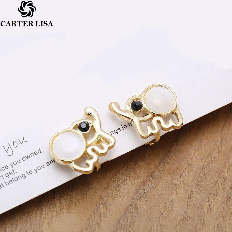 CARTER LISA Fashion Charm Minimalist Cute Baby Elephant Women Opal Statement Animal Stud Earrings For Women Girl Party Jewlery