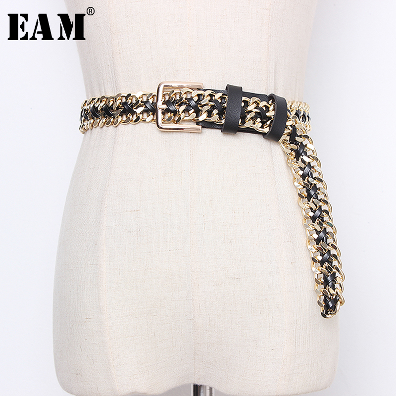 [EAM]  Pu Leather Chain Split Joint Long Wide Temperament Belt Personality Women New Fashion Tide All-match Spring 2020 1N953