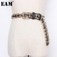 [EAM] Pu 가죽 체인 분할 공동 긴 와이드 기질 벨트 성격 여성 새로운 패션 조수 모든 일치 봄 2020 1N953