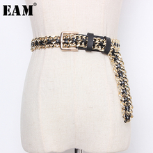 [EAM]  Pu Leather Chain Split Joint Long Wide Temperament Belt Personality Women New Fashion Tide All match Spring 2020 1N953