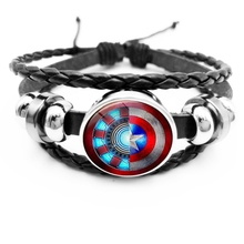 initial/Avenger League Movie Series Bracelet Captain America Shield Star Iron Man Round Glass Snap Button Jewelry