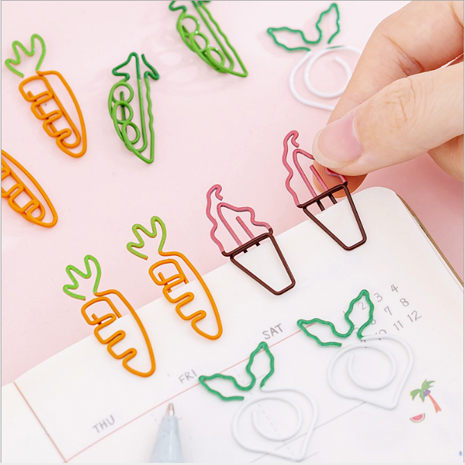 Clips Binder Paper Clips Paperclips Pink Iron Plastic Cute School Stationary Office Supplies Girl Mini Decoration Bookmark Mark