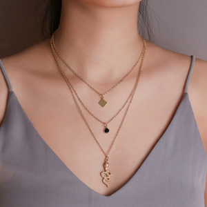 ABDOABDO Vintage Multilayer Stainless Steel Geometric Necklace Collier Zircon Snake Pendant Long Necklace Ladies Jewelry