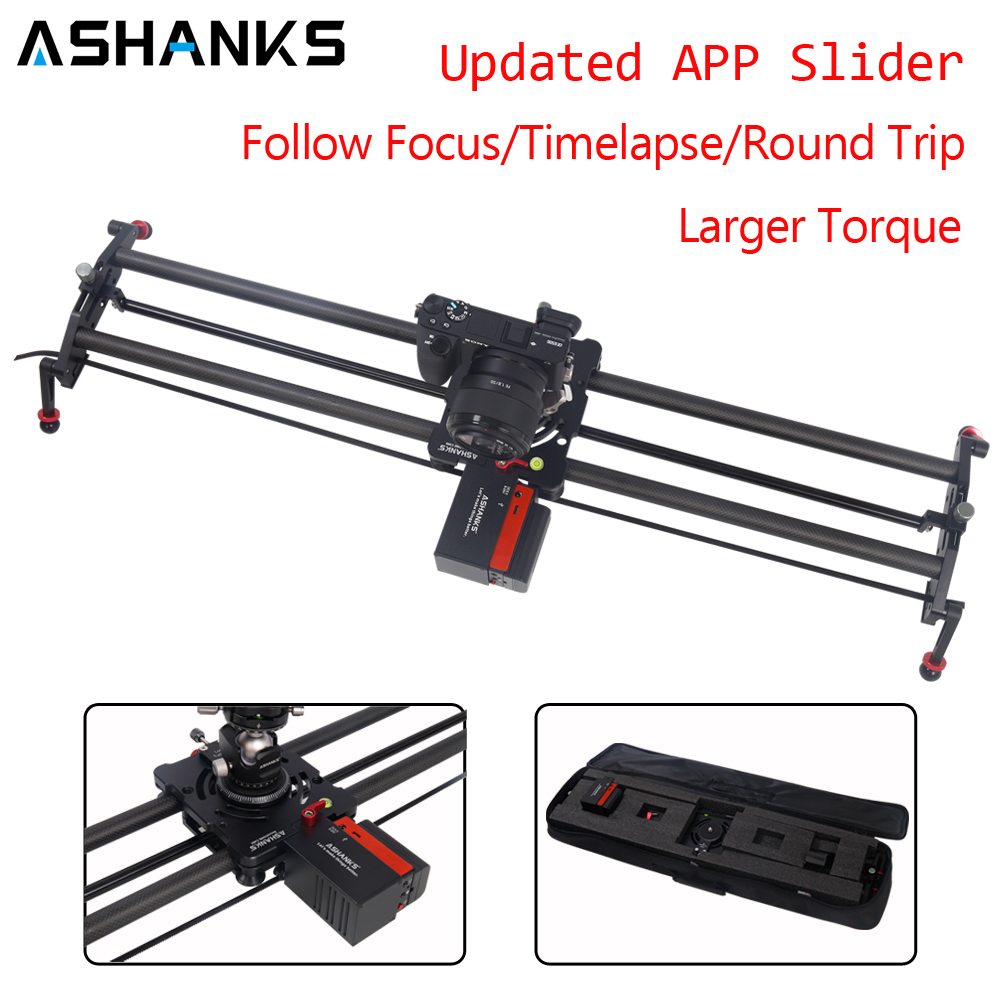 ASHANKS Bluetooth Carbon Camera Slide Follow Focus Motorized Electric Control Delay Slider Track Rail for Timelapse