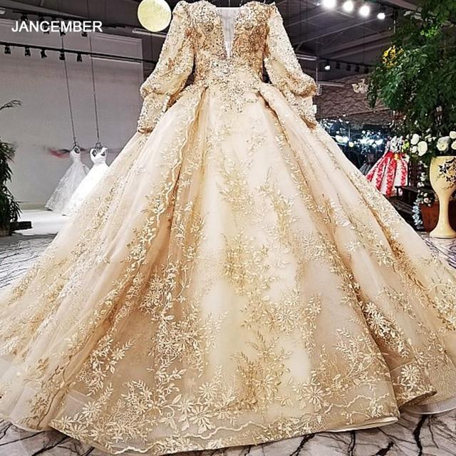LS68774 יוקרה כדור שמלת שמלת ערב 2020 ארוך שרוול כבוי כתף פרחי זהב מבריק 100% אמיתי כמו תמונות