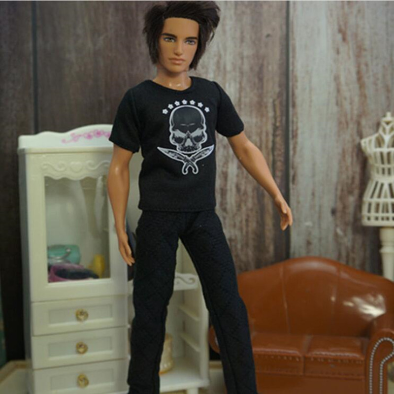 Male Doll Clothing Casual Wear Handmade Clothes Outfit For 29CM Ken Prince Doll Accessories Skully Black White Color Doll Suits