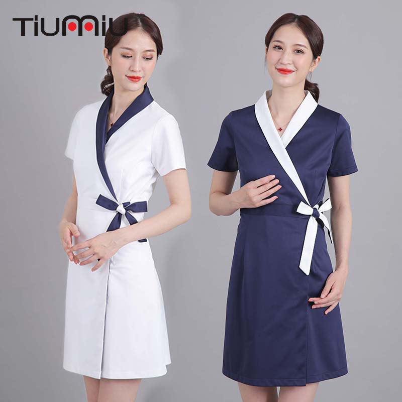 High Quality Short Sleeve Nurse Doctor Medical Uniform Hospital Dental Scrubs Beauty Salon Spa Beautician Dress Work Clothes