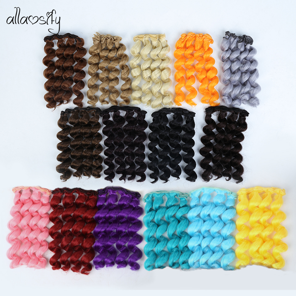 Allaosify 15cm*100CM BJD Wigs Black Gold Brown Silver Color Short Curly Hair For 1/3 1/4 1/6 Dolls DIY  Hair For Dolls