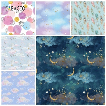Laeacco Photography Backgrounds Moon Stars Baby Shower Photocall Newborn Child Portrait Photophone Birthday Photo Backdrops Prop
