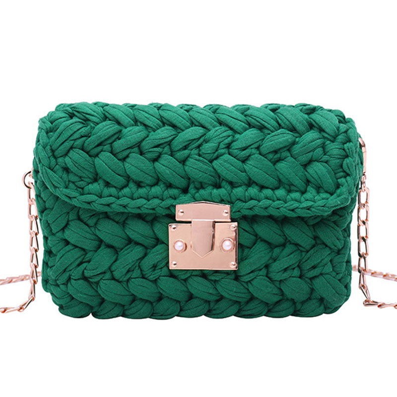 Female Wild Shoulder Bags Manual Crocheted Thread Flap Ladies 2020 New Fashion Chains Women's Handbags Casual Crossbody Bags