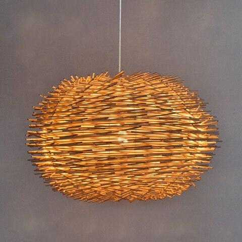 handmade passaro ninho luz pingente de madeira