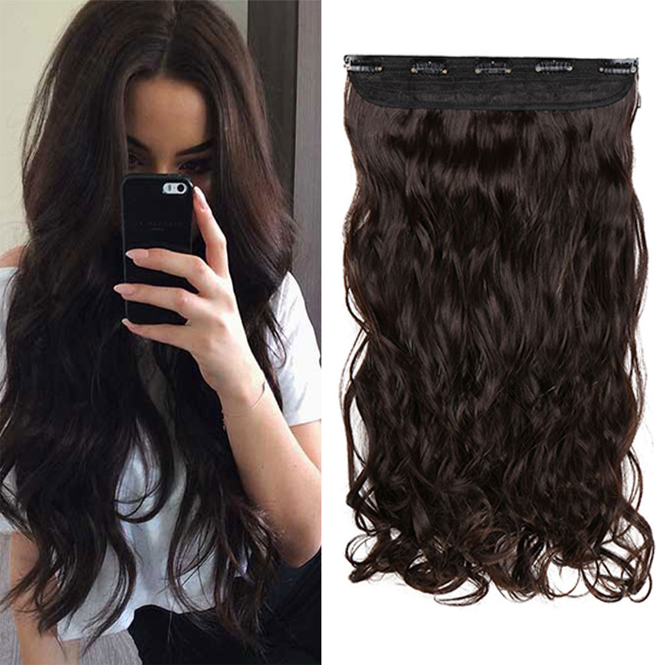 S-noilite Long wavy Clip In One Piece Hair Extension Half Head Real Natural Hair Synthetic Clip In Hairpiece For Women