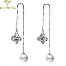 XIYANIKE-pendientes colgantes de perlas para mujer, de Plata de Ley 925, elegantes y a la moda, cristal Simple creativo, joyería de boda hecha a mano