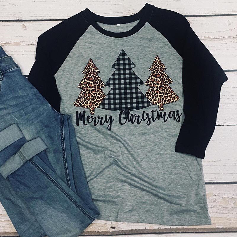 Merry Christmas Trees Shirt Woman Print Holiday Tshirts Long Sleeve Women Plus Size Print Tee 90s Graphic Top Thanksgiving