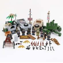 WW2 Military Army Soldiers Figures Building Blocks German antiaircraft gun Bunker weapons parts building blocks Bricks Toys