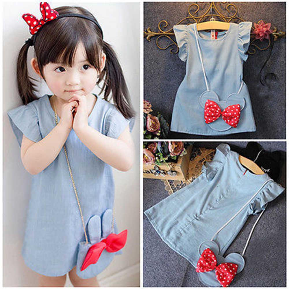 Robe pour petites filles, avec motifs de dessins animés, tenue de soirée, couleur solide, sac de souris, couleur solide, pour enfants de 1 à 5 ans