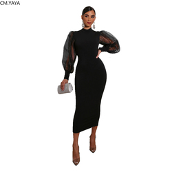 2020 Women Summer Midi Dress Mesh Patchwork Full Sleeve High Waist Sexy Party Night Club Street Bandage Dresses Vestidos GL211