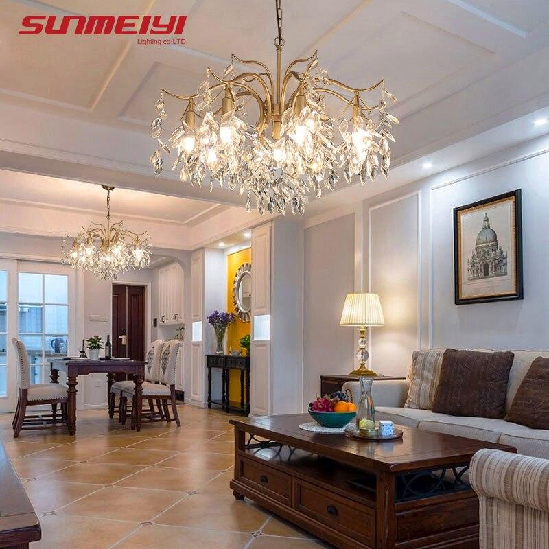 LED nordique lustres en cristal or noir lustre éclairage de luxe cuisine salle à manger salon chambre lampe lustre pendente - 3