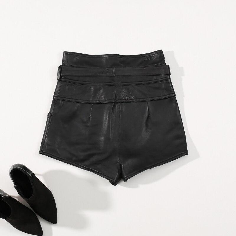 Winter Women Casual Shorts Genuine Leather Black High Waist Belt Zipper Vintage Korean Style Female Real Sheepskin Hot Shorts
