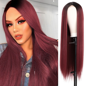 Image 4 - AISI HAIR Long Straight Black Wig Synthetic Wigs for Women Natural Middle Part Lace Wig Heat Resistant Fiber Natural Looking Wig