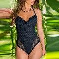 Женский купальник 2020 новый стиль цельный купальный костюм сексуальный однотонный кружевной Цельный купальник с вырезом