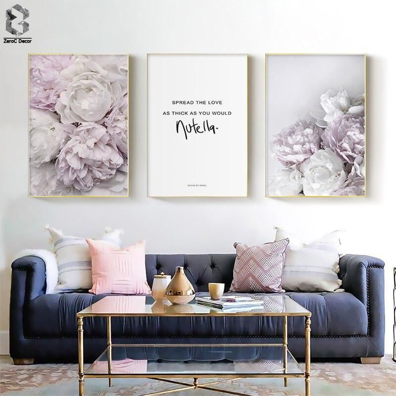 Escandinavo Estilo Peony Flor Cópia Da Lona Grande Arte Da Parede Cartazes e Cópias Quote Cartaz Da Parede Da Flor Pictures para Sala de estar