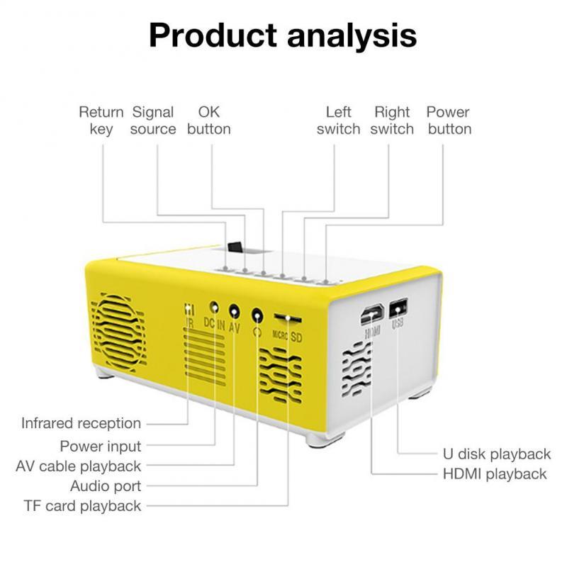 Dropship portátil mini projetor 1080p suporte 1080p mini projetor para casa av usb portátil bolso beamer projetor de cinema em casa-3