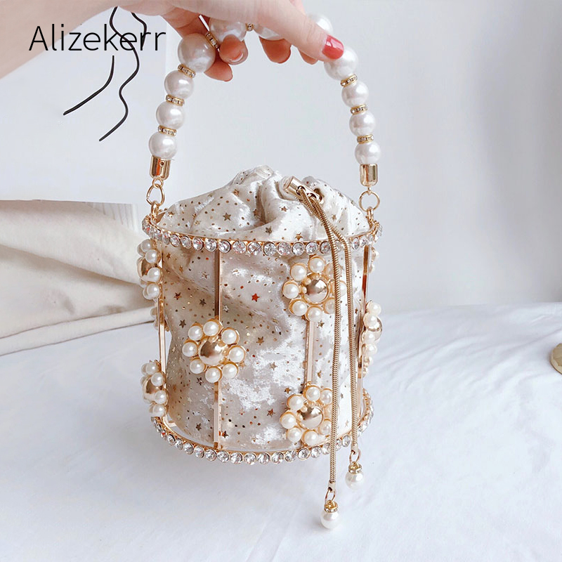 Hollow Out Evening Clutch Bag Womens Flowers Diamond Pearl Metallic Cage Handbags And Purses Ladies Bucket Bag Dinner Party