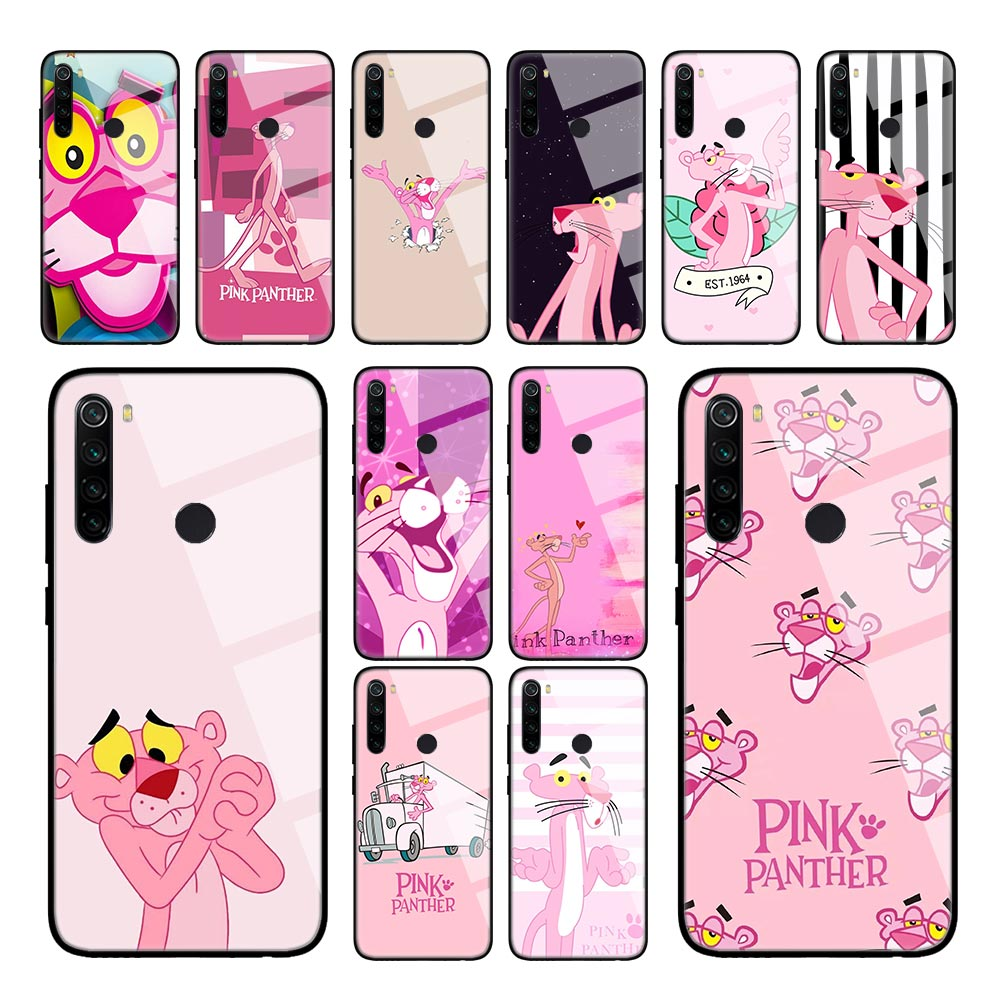 Pink Panther lovely Case for Xiaomi Redmi K30 5G K20 8A Note 8T 8 7 6 Mi 10 Pro CC9 A3 Tempered Glass Shell Phone Coque image
