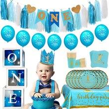1 год синего цвета на день рождения воздушные шары детских празднований дня рождения вечерние украшения Дети 1st на день рождения детская фут...
