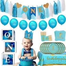 Ballons bleus pour anniversaire de 1 an, décoration pour fête prénatale, premier anniversaire pour enfants, garçon et fille, fournitures de fête