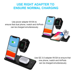 Image 5 - DCAE 4 in 1 Wireless Charging Stand for Apple Watch 5 4 3 2 Airpods Pro 15W Qi Fast Charger Dock Station For iPhone 11 X XS XR 8