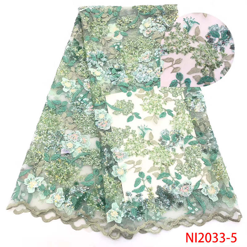 Latest African Laces 2019 Hot Sale Sequence Lace Fabric Nigeria Lace Fabric With Stones For Party Dresses 5yards KSNI2033-5