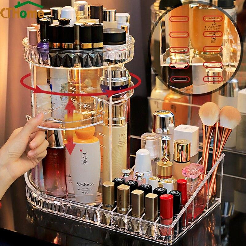 360 درجة دوران شفاف أكريليك مستحضرات التجميل صندوق تخزين موضة تدور متعددة الوظائف انفصال ماكياج الجمال المنظم