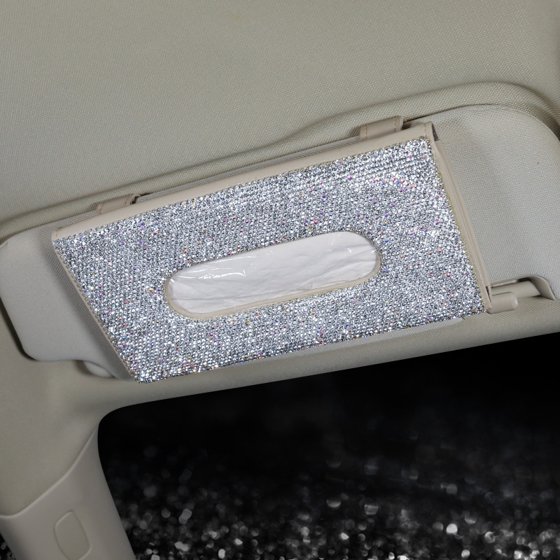 Bling-Bling-Diamond-Car-Visor-Tissue-Holder-Hanging-Leather-Crystals-Rhinestone-Paper-Towel-Cover-Case-for-Women-5