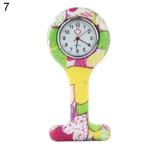 Портативный Зебра арабские печатные цифры Круглый циферблат силикон Медсестра часы Брошь Туника кармашек для часов Часы - Цвет: 7